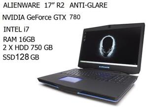ALIENWARE 17 R2 quad i7 TURBO 3.4GHZ 16GB ,1.5TB + 128 GB SSD GTX 770m +Mc Office 2016