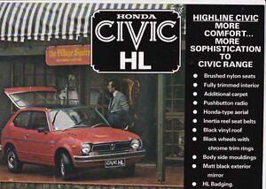 1977-78 HONDA 1st Generation CIVIC HL New Zealand 2 Page Brochure HIGHLINE