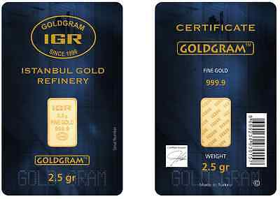 2 5 Gram Igr Mint 999 9 Gold Bar Sealed W Assay Certificate 24 Karat