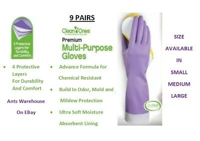 (9 Pairs Clean Ones Premium Multi Purpose Rubber Gloves hand dish washing- L/M/S)
