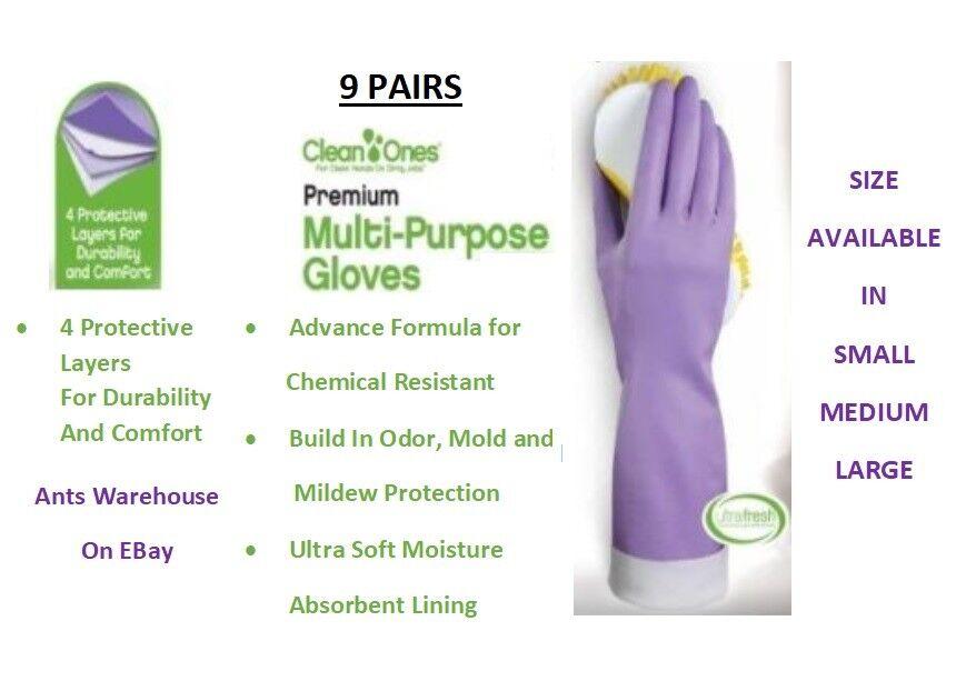 Купить Clean Ones - 9 Pairs Clean Ones Premium Multi Purpose Rubber Gloves hand dish washing- L/M/S