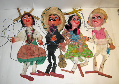 Vintage Lot of 4 MARIONETTE PUPPETS Mexican Folk Art
