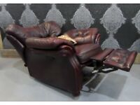 Fantastic Chesterfield Recliner Arm Chair in Oxblood Red Leather - Uk Delivery