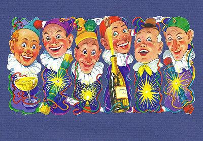 Lot 6 old vtg SCRAPs CLOWNS / PIERROT Champagne Bottles party MLP uk