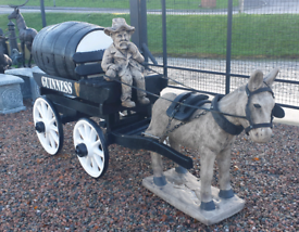 Ex Large garden ornament donkey & wooden cart Guinness barrel