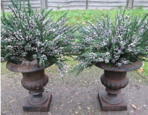 "Pair of 10"" Small Cast iron Urns -Holiday Decor (Free Delivery)"