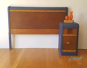 Art Deco Waterfall Single Headboard and Nightstand