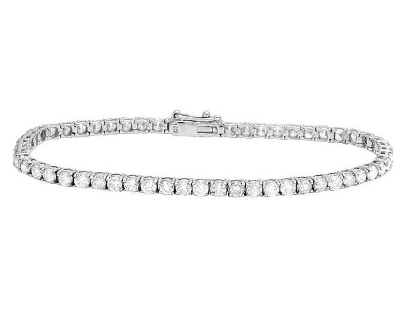 Ladies 14K White Gold Genuine Diamond Prong One Row 3MM Tennis Bracelet 6.0CT 7""
