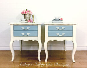 Chic French Country Nightstands or Vintage End Tables