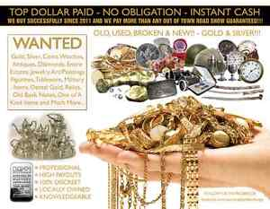 WANTED: GOLD, SILVER, WATCHES, DIAMONDS, COINS, TOP DOLLAR PAID