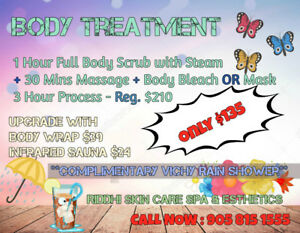 Body treatment $ 135 Full body Scrub+Steam+Ma$$age+Body Bleach