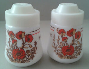 Vintage White Milk Glass Floral Salt & Pepper Shakers