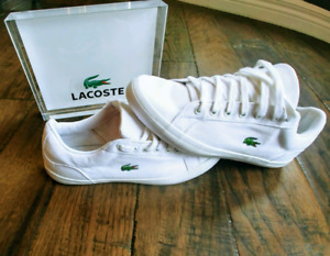 Lacoste mens white canvas 9 shoe