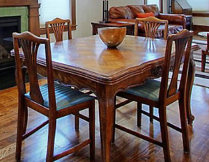 Dining Table and Chairs French Louis XV Parquet Oak (Antique)