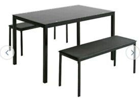 Brand new black glass dining table and benches