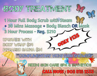 Only 135$ Full body waxing w/brazilian + Fullbody scrub w/steam