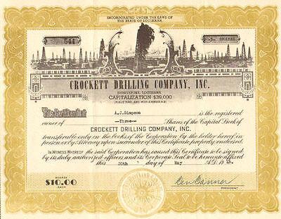 Crockett Drilling Company, Inc. > 1946 Shreveport Louisiana stock certificate
