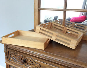 Two solid woodbox  trays for display and storage
