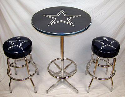 - 2 Dallas Cowboys Football Bar Stools & Table