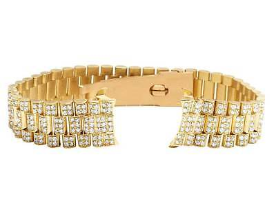 Ladies President VS Diamond Watch Band for Rolex Datejust in 18K Yellow Gold 7Ct
