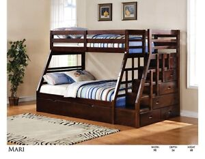 SOLID WOOD SINGLE/DOUBLE STAIR CASE BUNK BED ONLY $869 Kitchener / Waterloo Kitchener Area image 1