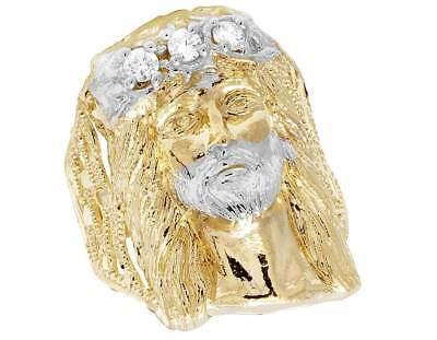 Men's Real 10K Yellow Gold Lab Diamond Big Jesus Face Fashion Pinky Ring 30MM