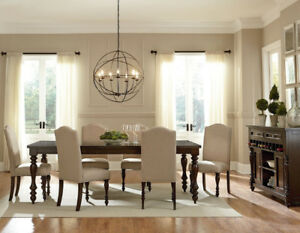 RICH WALNUT TABLE WITH 6 UPHOLSTERED BEIGE CHAIRS WITH BUTTONS