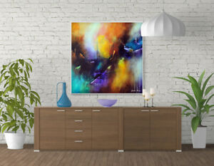 Large Abstract Painting on Canvas, Original Toile