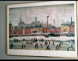 Framed Lowry print Northern river scene