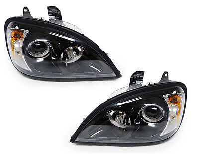 USA 96-11 FREIGHTLINER COLUMBIA TRUCK BLACK PROJECTOR HEADLIGHTS LAMPS PAIR