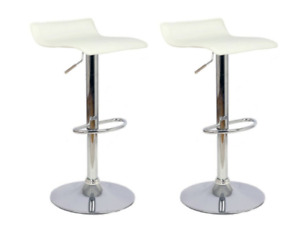 2 white faux leather barstools chrome- like new