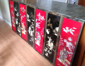 Enameled Japanese Wall Panels, 7 wooden mother of pearl inlay