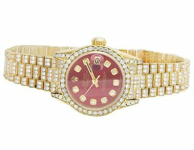 Rolex 18K Yellow Gold 26MM Datejust Red Presidential 69178 Diamond Watch 9 Ct