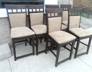 Set of 6 DINNING ROOM CHAIRS Suede Chairs