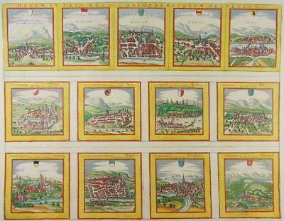 SCHWEIZ STÄDTE RADIERUNG BRAUN HOGENBERG 1572 JANSSONIUS SWITZERLAND SWISS TOWNS