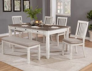 Georgia Dining Set, table with drawers, 4 chairs and bench, NEW
