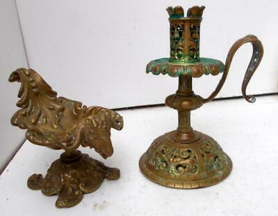 Vintage French Gothic Aesthetic Bronze Ram Pedestal Dish & Chamber Stick !