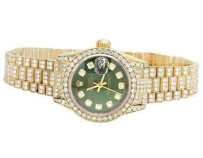 Rolex 18K Yellow Gold 26MM Datejust Green Presidential 69178 Diamond Watch 9 Ct