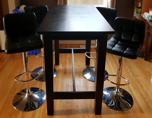 Ikea Stornas bar table and hydraulic chairs