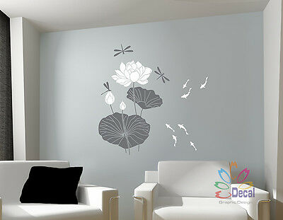 Wall Decor Decal Sticker vinyl water lily flower asian Large 48