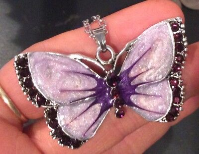 ENAMEL,RHINESTONES BUTTERFLY PENDANT &LEATHER/FAUX /CHAIN NECKLACE - Butterfly Faux Necklace