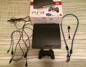 Playstation 3 with 14 games, bluetooth mic, and HDMI cord