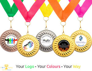 10 x Running Medals Personalised With Your Logo + Ribbon