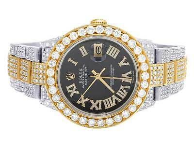 Mens Rolex 18K/ Steel Datejust Two Tone Oyster 16233 Diamond Watch 19.5 Ct