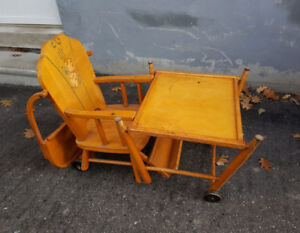 1940s folding high chair and desk - Canadian made