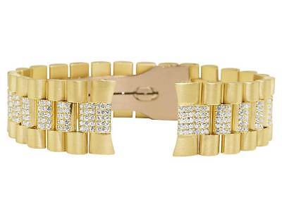 Mens President VS Diamond Watch Band for Rolex DayDate in 14K Yellow Gold 75Ct