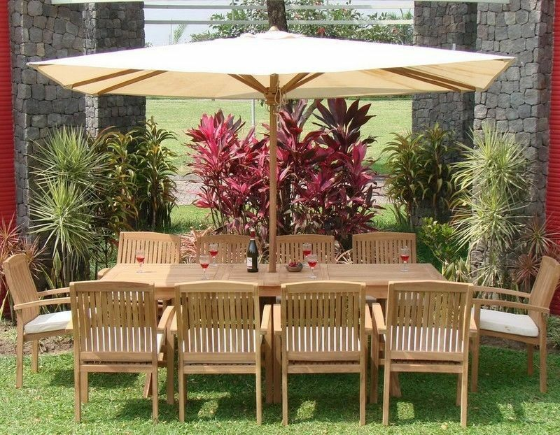 """11-piece Outdoor Teak Dining Set: 94"""" Rectangle Table, 10 Stacking Chairs Wave"""