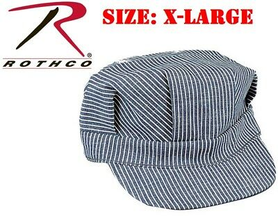 ( SIZE X- LARGE ) Hickory Stripe Railroad Cap Engineer Railroad Hat Rothco 5448 - Engineer Caps