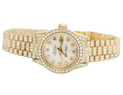 Ladies Rolex 18K Yellow Gold 26MM Datejust 69178 Presidential Diamond Watch 9 Ct