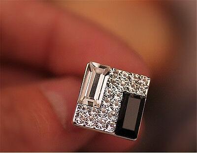 New Luxury Women & Men Rhinestone Crystal Square Ear Stud Earrings Jewelry